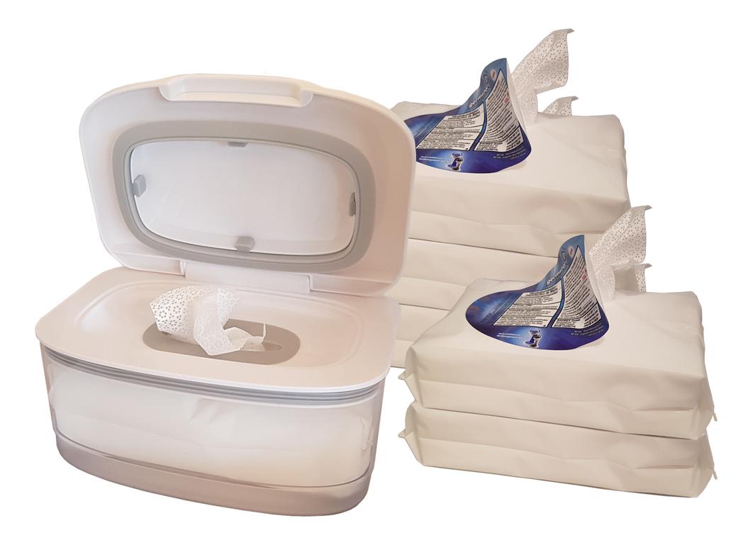 Handdesinfektionstücher ORIGINAL (6) + HanddesinfektionstücherSpenderBOX (weiss, leer) SET Handdesinfektionstücher (new) ORIGINAL: 1 HanddesinfektionstücherSpenderBOX (WH, leer) + 6 Pack